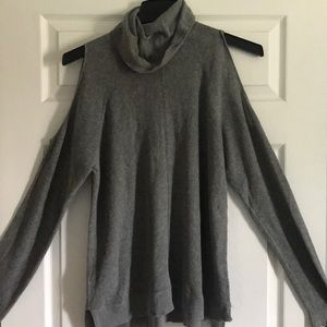 Gray knitted off the shoulder turtle neck sweater
